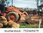 bulldozer details   working... | Shutterstock . vector #752469679