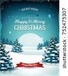vintage blue christmas... | Shutterstock .eps vector #752475307