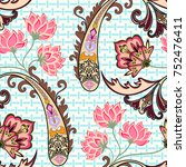 seamless pattern with paisley ... | Shutterstock .eps vector #752476411