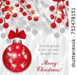 christmas background with fir... | Shutterstock .eps vector #752478151
