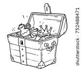 treasure chest outline. vector... | Shutterstock .eps vector #752488471