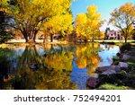 autumn reflection pond at rock... | Shutterstock . vector #752494201