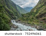 view of marshyangdi river and... | Shutterstock . vector #752496061