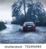 car rides on forest road in... | Shutterstock . vector #752496985