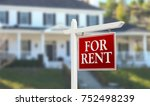for rent real estate sign in... | Shutterstock . vector #752498239