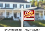 sold home for sale real estate... | Shutterstock . vector #752498254