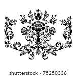 damask ornament. black and... | Shutterstock .eps vector #75250336