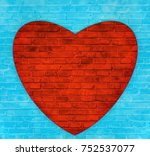 Red Heart On A Blue Background.
