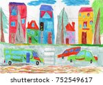 drawing of the buildings and... | Shutterstock . vector #752549617