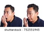 asian man check his own mouth... | Shutterstock . vector #752551945