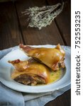 tender roast suckling pig heads ... | Shutterstock . vector #752553235