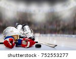 Low angle view of hockey helmet ...