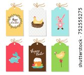 collection of easter tags | Shutterstock .eps vector #752555275