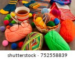 knitting and comfort. balls of... | Shutterstock . vector #752558839