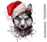 digital art portrait of husky ... | Shutterstock . vector #752559394