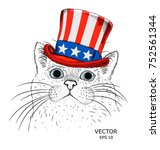 a smiling cat  in old american... | Shutterstock .eps vector #752561344