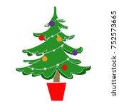a fir tree in a pot | Shutterstock .eps vector #752573665