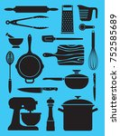 set of 17 kitchenware... | Shutterstock .eps vector #752585689