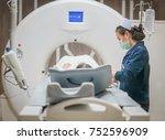 nurse checking patient vital... | Shutterstock . vector #752596909