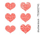 a set of red hearts with... | Shutterstock .eps vector #752602741
