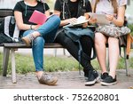 group student with notebook on... | Shutterstock . vector #752620801