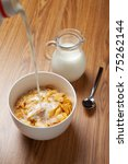 bowl of breakfast cereal and... | Shutterstock . vector #75262144