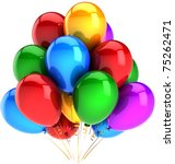 Party balloons Happy Birthday decoration multicolor colorful. Fun happy joy positive abstract. Holiday celebration weekend concept. Detailed 3d render. Isolated on white background - stock photo