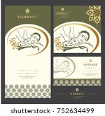 set of vector spa massage card... | Shutterstock .eps vector #752634499