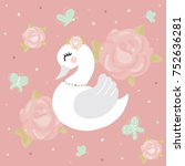 swan baby girl room flower | Shutterstock .eps vector #752636281