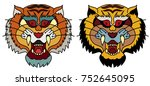 tiger head vector isolate on... | Shutterstock .eps vector #752645095