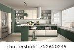 modern wooden kitchen with... | Shutterstock . vector #752650249