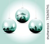 christmas balls with nativity... | Shutterstock .eps vector #752650741