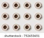 pattern of cups with coffee... | Shutterstock . vector #752653651