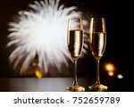 two champagne glasses against... | Shutterstock . vector #752659789