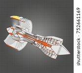 turbo jet engine aircraft.... | Shutterstock .eps vector #752661169