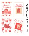 happy birthday greeting cards... | Shutterstock .eps vector #752664874