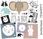 boy room decor animal | Shutterstock .eps vector #752669977
