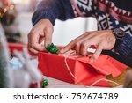 men wearing blue sweater... | Shutterstock . vector #752674789