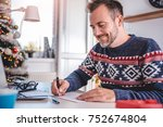 men wearing blue sweater... | Shutterstock . vector #752674804