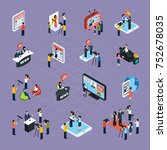 reporters isometric icons set... | Shutterstock . vector #752678035