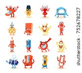 funny office supplies icons set ... | Shutterstock . vector #752678227