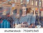 two student girls smiling ... | Shutterstock . vector #752691565