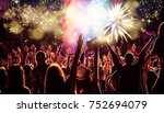 cheering crowd watching...   Shutterstock . vector #752694079