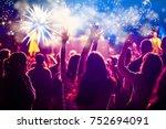 cheering crowd watching...   Shutterstock . vector #752694091