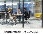 group of a young business... | Shutterstock . vector #752697361