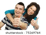 young happy couple showing ok | Shutterstock . vector #75269764
