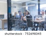 group of a young business... | Shutterstock . vector #752698345