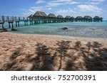 tropical lagoon with overwater... | Shutterstock . vector #752700391