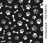pet paw and bones seamless...   Shutterstock .eps vector #752706751
