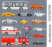 car side view set. vehicles... | Shutterstock .eps vector #752709709